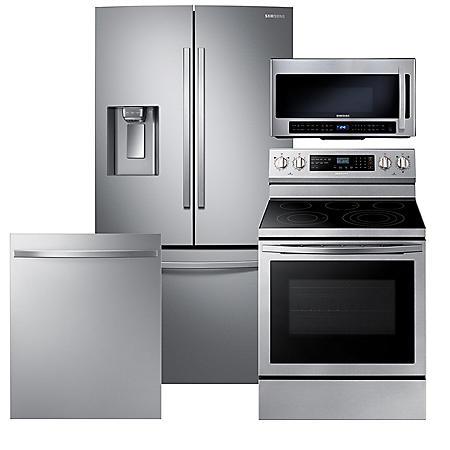 Samsung 4-Piece Kitchen Suite with French Door Refrigerator in Stainless Steel