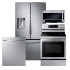 Samsung 4-Piece Kitchen Suite with French Door Refrigerator in Stainless Steel