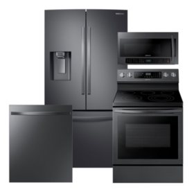 Samsung 4pc Kitchen Suite with Counter Depth Refrigerator in Black Stainless Steel