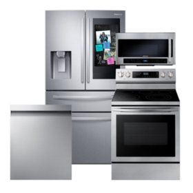 Samsung 4-Piece Kitchen Suite with 4-Door Refrigerator in Stainless Steel