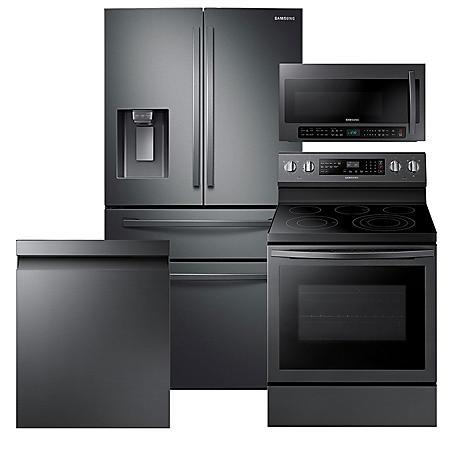 Samsung 4pc Kitchen Suite with 4-Door Refrigerator in Black Stainless Steel