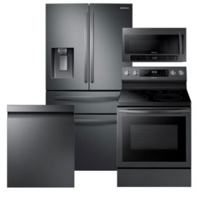 Samsung 4pc Kitchen Suite with 4-Door Refrigerator in Black Stainless Steel