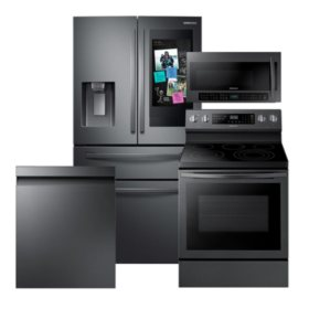 Samsung 4-Piece Kitchen Suite with French Door Refrigerator in Black Stainless Steel