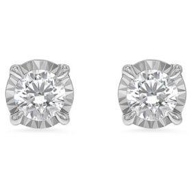 Diamond Stud Earrings in 14K White Gold (H-I, I1)
