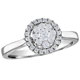 0.37 CT. T.W. Diamond Frame Cluster Ring in 14K Gold