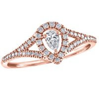 0.29 CT. T.W. Diamond Pear Shaped Framed Ring in 14K Gold