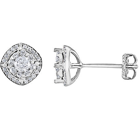 0.37 CT. T.W. Diamond Frame Cluster Stud Earrings in 14K Gold