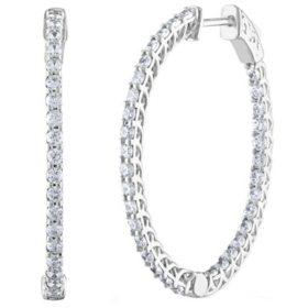 3.00 CT. T.W. Diamond Inside-Out Hoop Earrings in 14K Gold