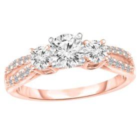 1.00 CT. T.W. Diamond Three Stone Split Shank Engagement Ring in 14K Gold