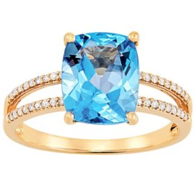 Cushion-Cut Blue Topaz and 0.11 CT. T.W. Diamond Ring in 14K Yellow Gold