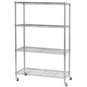 Seville Classics 4-Tier Steel Wire Shelving, Silver