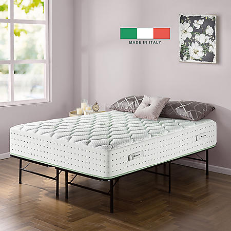 """Zinus Night Therapy Italian Made Olive Oil Infused 12"""" Hybrid Queen Mattress and SmartBase Set"""