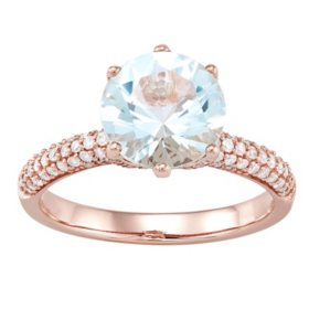 9MM Aquamarine and .39 CT. T.W. Diamond Ring in 14K Rose Gold