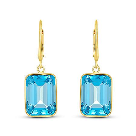 Emerald Sky Blue Topaz Dangle Earrings in 14 Karat Yellow Gold