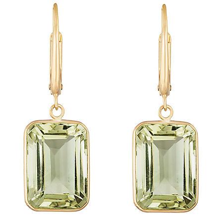 Emerald Cut Prasiolite Dangle Earrings in 14 Karat Yellow Gold