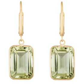 Emerald Cut Prasiolite Dangle Earrings in 14 Karat Yellow Gold