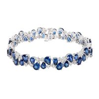 33.75 CT. Lab Blue Sapphire and Created White Sapphire Bracelet in Sterling Silver