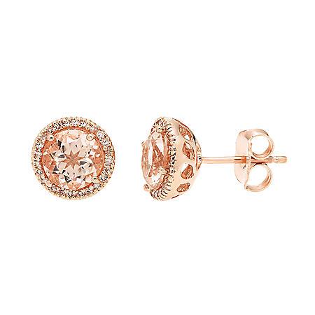 2.0 CT. Morganite and 0.13 CT. T.W. Diamond Earrings in 14K Rose Gold