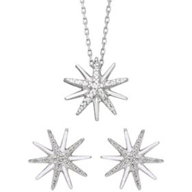 0.21 CT. T.W. Sterling Silver Diamond Starburst Pendant & Earring Set