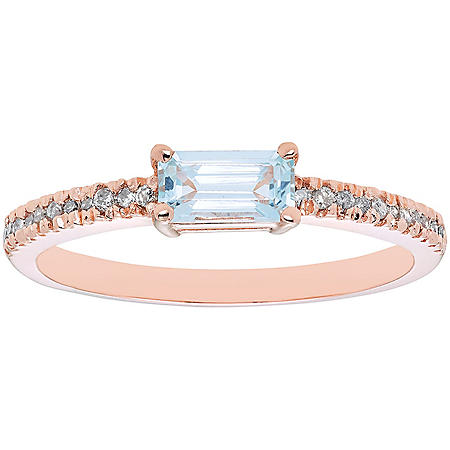 Aqua and 0.10 CT. T.W. Diamond Ring in 14K Rose Gold