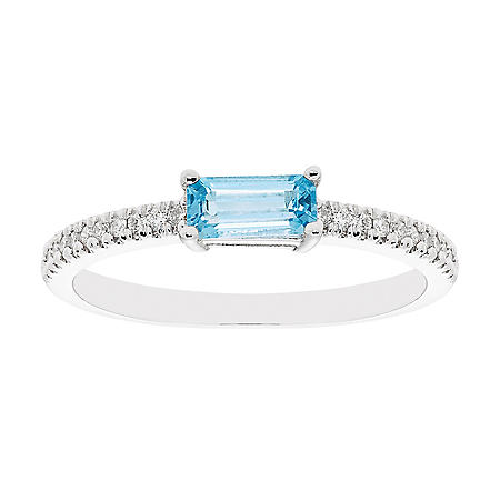 Swiss Blue Topaz and 0.10 CT. T.W. Diamond Ring in 14K White Gold