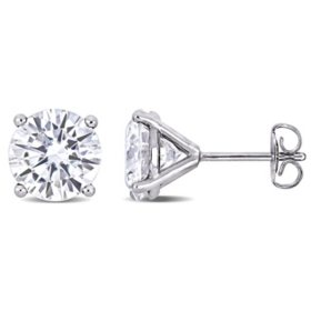 4 CT. T.G.W. Created White Moissanite Solitaire Stud Earrings in 14k White Gold