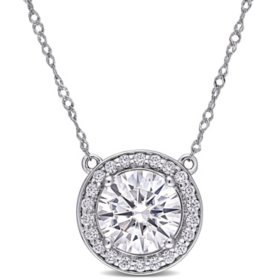 2.2 CT. T.G.W. Created White Moissanite Halo Necklace in 14k White Gold