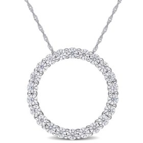 2.2 CT. T.G.W. Created White Moissanite Circle of Life Pendant in 14k White Gold