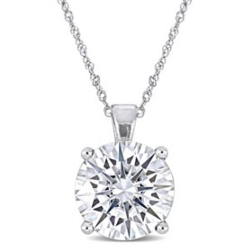 4 CT. T.G.W. Created White Moissanite Solitaire Pendant in 14k White Gold