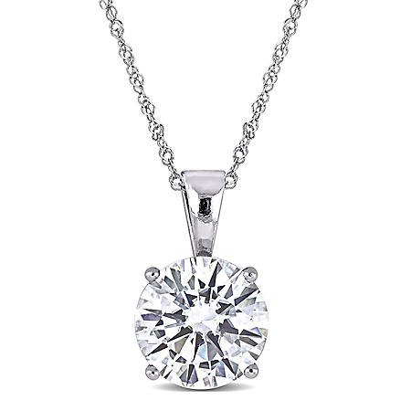 2 CT. T.G.W. Created White Moissanite Solitaire Pendant in 14k White Gold