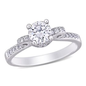 0.7 CT. T.G.W. Created White Moissanite and 0.23 CT. T.W. Diamond Engagement Ring in 14K White Gold