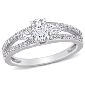 Allura 0.5 CT. T.G.W. Created White Moissanite and 0.5 CT. T.W. Diamond 3-Stone Engagement Ring in 14k White Gold
