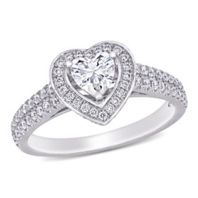 Allura 0.5 CT. T.G.W. Created White Moissanite and 0.48 CT. T.W. Diamond Halo Heart Engagement Ring in 14K White Gold