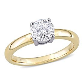 0.7 CT. T.G.W. Created White Moissanite Engagement Ring in 14k Yellow and White Gold