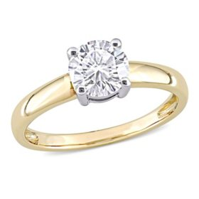 1 CT. T.G.W. Created White Moissanite Engagement Ring in 14k Yellow and White Gold