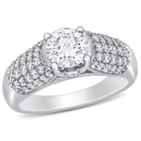 Allura 0.7 CT. T.G.W. Created White Moissanite and 0.50 CT. T.W. Diamond Engagement Ring in 14k White Gold
