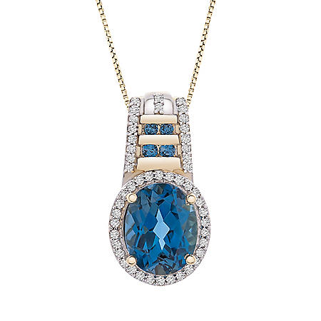 London Blue Topaz and 0.21 CT. T.W. Diamond Pendant in 14K Yellow Gold