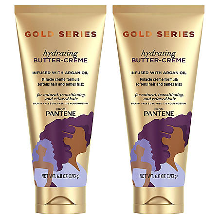 Pantene Gold Series Sulfate-Free Hydrating Butter Cream with Argan Oil for Curly, Coily Hair, (6.8 oz.,2 pk.)