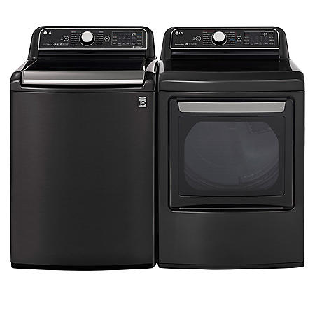 LG 5.5 cu.ft. Top Load Washer & 7.3 cu. ft. Dryer - Black Stainless Steel