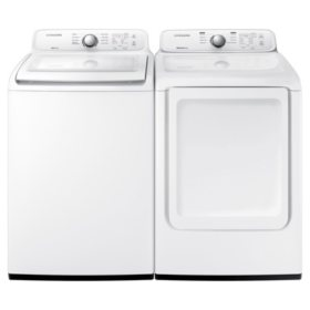 SAMSUNG 4.5 cu. ft. Top Load Washer & 7.2 cu. ft. Dryer - White