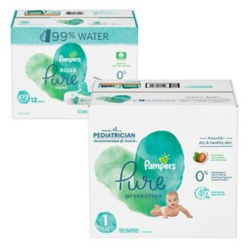 Pampers Pure Protection Diaper and Wipe Bundle (Choose Your Size)
