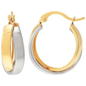 14K Two-Tone Crossover Hoop Earrings