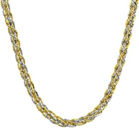 """14K Two Tone Braided Gold Chain Necklace, 18"""""""