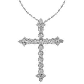 0.23 CT. T.W. Diamond Cross Pendant  in 14K White Gold