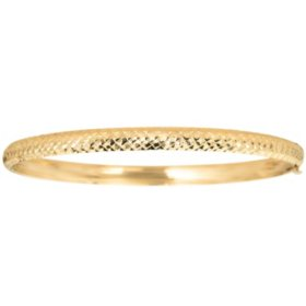14K Yellow Gold Diamond-Cut 5mm Bangle, 7""