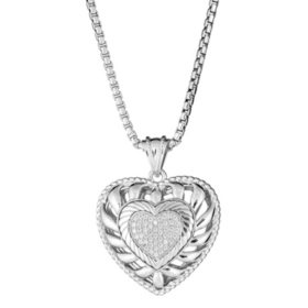 "0.24 CT. T.W.  Diamond Puffed Heart Pendant in Sterling Silver, Adjustable to 25"" (H-I, I1)"
