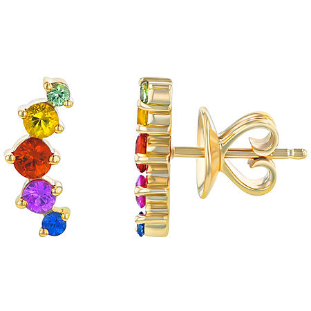 S Collection Graduating Multi-Color Rainbow Climber Earrings in 14K Yellow Gold