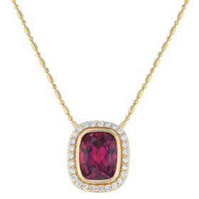 S Collection 2 1/4 CT Rhodolite Garnet and 1/5 CT Diamond Halo Pendant in 14K Yellow Gold