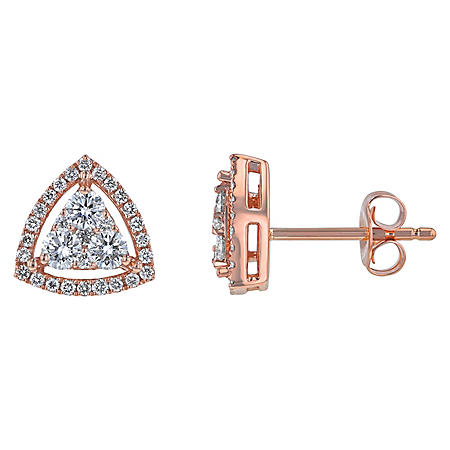 S Collection 2/3 CT. T.W. Triangle Stud Style Earrings in 14K Rose Gold