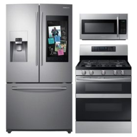 Samsung 3pc Kitchen Suite with Family Hub™ 3-Door Refrigerator in Stainless Steel